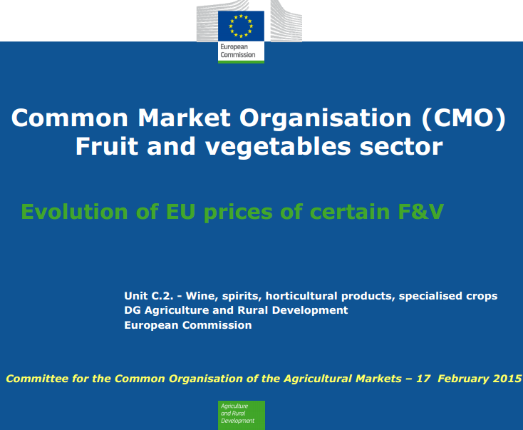 European Commission presentation on the impact of the Russian import ban on prices for certain fruits and vegetables.