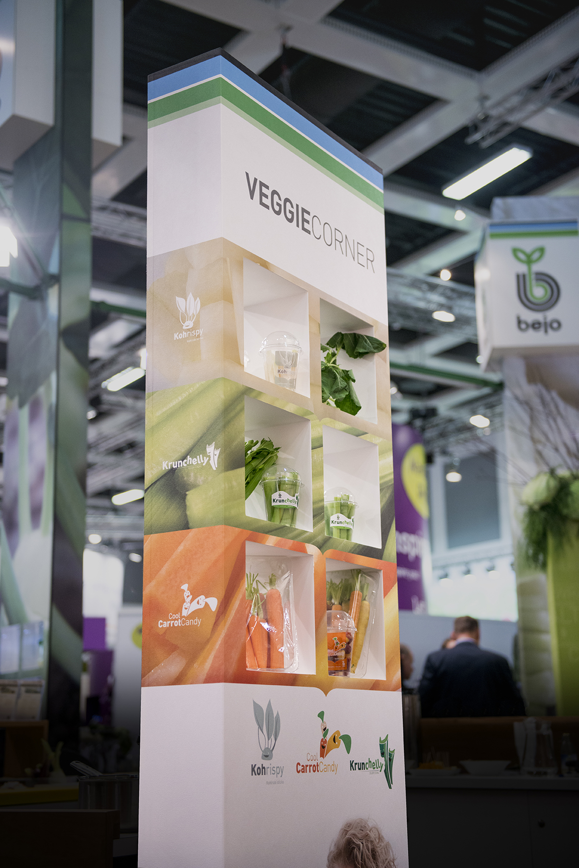 Bejo's stand at Fruit Logistica focused on 6 concepts around the theme 'Taste, Health and Convenience': Coolwrap, Delicioni (fresh onion), Kohrispy (kohlrabi sticks), Cool Carrot Candy (snack carrots), Veggie corner and organic seed.
