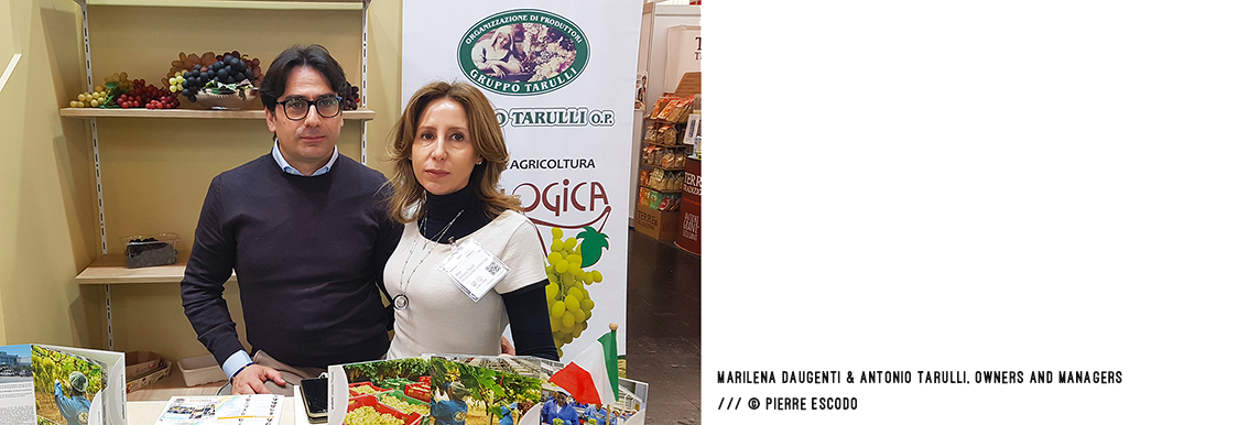 Marilena Daugenti and Antonio Tarulli, owners and managers Of Gruppo Tarulli at BIOFACH2020 /// © Pierre Escodo