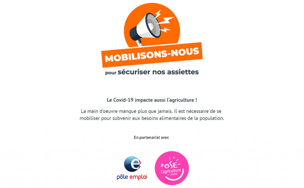 In France, to overcome the shortage of workers in fiels, the government has created a website for people to apply to jobs without losing their rights to go back to their jobs after the quarantine. /// © desbraspourtonassiette.wizi.farm